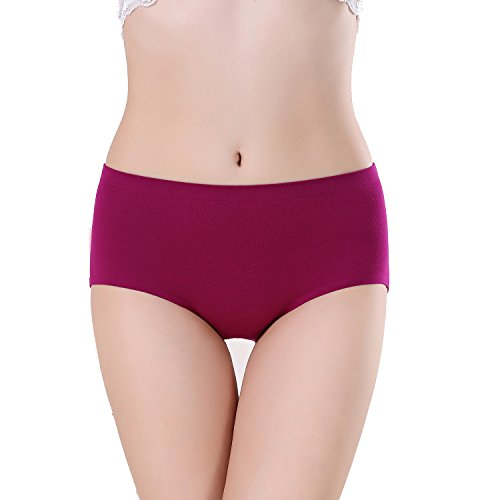 FZmix Women Panties Seamless Cotton Breathable Briefs Plus Size Girl Underwear Lingerie Red Wine