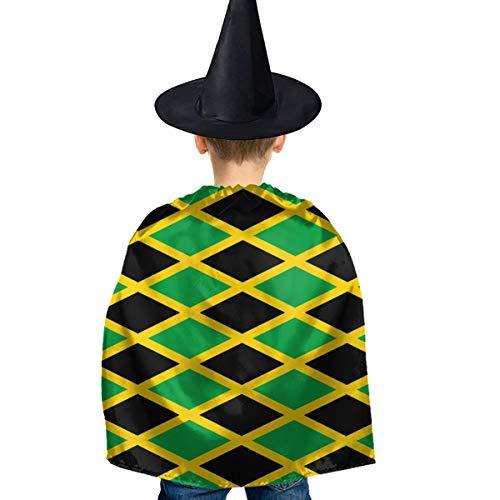 Amoyuan Unisex Kinder Weihnachtshund Halloween Hexe Umhang mit Hut Jamaika Flagge Karibik Zauberer Umhang Kostüm