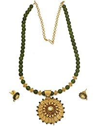 Radha's Creations Lakshmi Temple Gold Plated Traditional Antique Jade Necklace Set For Women