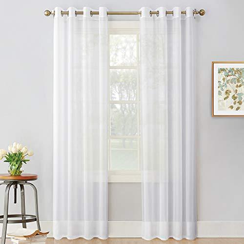Wohnzimmer Ösenschal - 2er Set Voile Vorhang Transparent Tüll Stores Gardinen, Weiß, 2 Stücke H 245 x B 140 cm ()