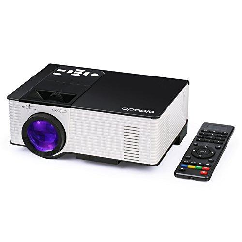 Proiettori OMAS Proiettore HD videoproiettore 1800 Lumen Led Mini Video Proiettori Home Theater Supporto 1080P HD HDMI, VGA, AV, USB per Home Cinema PC Portatile Giochi