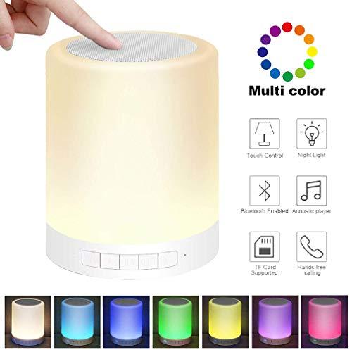 Kangcheng Altoparlante Bluetooth Senza Fili con Luce Notturna a LED Altoparlante Portatile Mani libere Chiamata Touch Control Lampada da Comodino Lampada da Lettura Sicuro