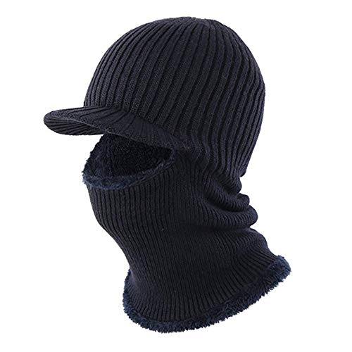 Gorras Invierno Sombrero Lana Unisex Balaclavas Anti-viento Fleece Forrado Térmica Hats y Máscara Orejera Ciclismo Moto Azul-oscuro Talla única