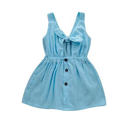 squarex  Mädchen einfarbig Rock Kleinkind ärmelloses Kleid Kid Straps Bow Button Rock Baby Prinzessin Kleid Sling Kleid Kleidung -