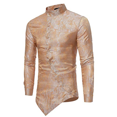 ESAILQ Männer Frühling Irraguler Slim Fit Langarm Printed Muscle T-Shirt Top Bluse(Medium,Gold)