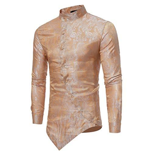 ESAILQ Männer Frühling Irraguler Slim Fit Langarm Printed Muscle T-Shirt Top Bluse(Large,Gold)