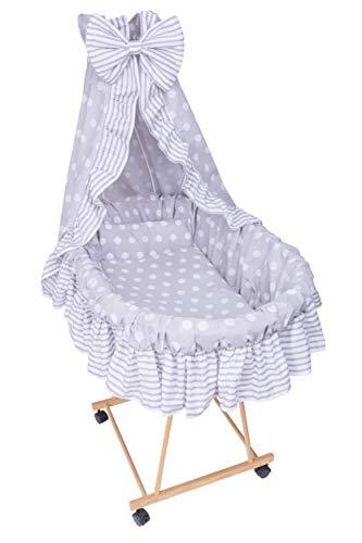 *Amilian® 9tlg Textile Ausstattung für STUBENWAGEN Bollerwagen Himmel Matratze Baby Bettwäsche Pünktchen Grau*