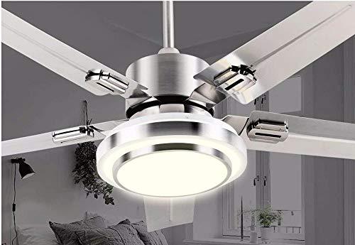 Hai Ying ♪ * Deckenventilator mit Lampe Schlafzimmer Deckenventilator Eisen Mr Fan Licht Beleuchtung Lampen Durchmesser 108 cm Edelstahl 5 Klinge weißes Licht Fernbedienung ♪ - Eisen-deckenventilator