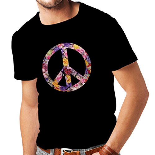 Männer T-Shirt Friedenssymbol, 60er, 70er Jahre, Hippie, Friedenszeichen Blume, Sommer, Retro, Swag (XXXXX-Large Schwarz Mehrfarben)