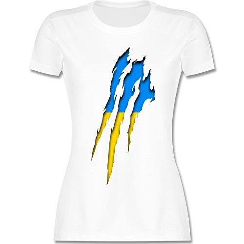 Shirtracer Länder - Ukraine Krallenspuren - Damen T-Shirt Rundhals Weiß