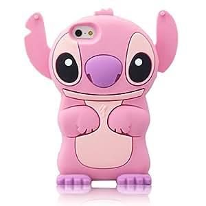 Coque Housse Etui en Silicone Pour Iphone 4 / 4S - Lilo & Stitch - Rose