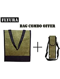 Flyura 1 Pocket Jute Tote Lunch Bag With Free Water Bottle Carry Bag Cover With Shoulder Strap (Olive Green &...