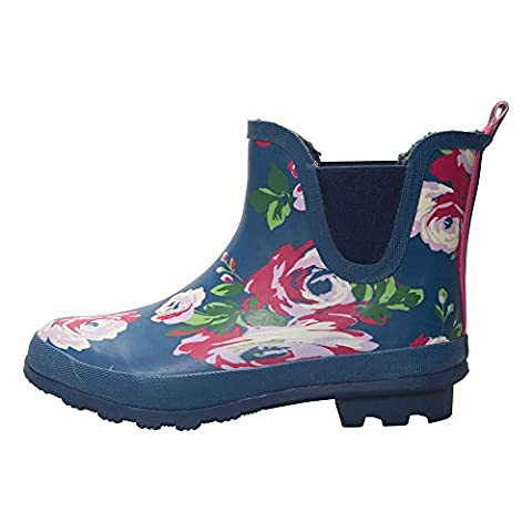 Mountain Warehouse Floral Winter Ankle Wellies - Waterproof PVC Outer, Soft Wool Lining with Durable Rubber Outsole, EVA Footbed & Easy to Clean Navy 8 UK