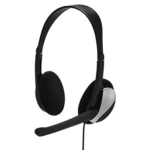 Hama PC Headset Essential HS 300 (mit Mikrofon, ultra leicht, On-Ear, Stereo, Lautstärkeregler am Kabel, 2 m Kabellänge, 3,5 mm Klinke) schwarz