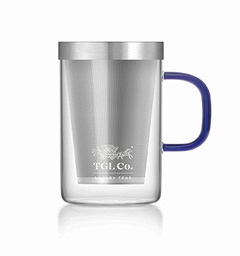 LUXURY TEAS TGL Co. Grand Transparent Tea Mug With Heat Resistant Stainless