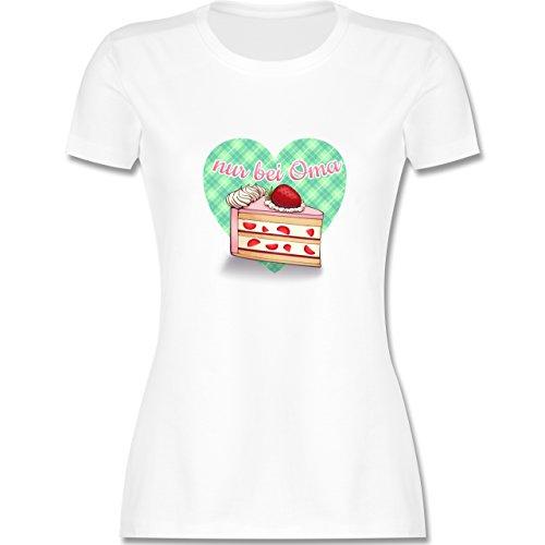 Oma - Nur bei Oma - Kuchen - tailliertes Premium T-Shirt mit Rundhalsausschnitt für Damen Weiß