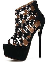 NobS Moda Señoras Mujeres Tacones Altos Sandalias Hollow Metal Tacones Altos Sandalias Impermeables Boca Femenina Boca Zapatos Casual , black , 36