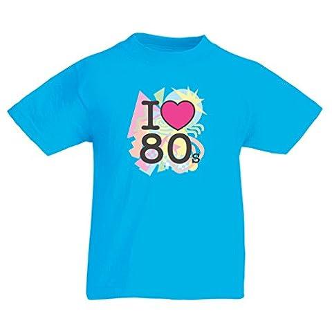 Kinder T-Shirt Ich liebe 80er Konzert t-shirts Weinlese Kleidungs Musik t-shirts geschenke (7-8 years Hellblau (Bestes Halloween-kostüme Für 10 Jährige)