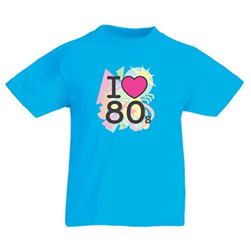 Kinder T-Shirt Ich liebe 80er Konzert t-shirts Weinlese Kleidungs Musik t-shirts geschenke (9-11 years Hellblau Mehrfarben)