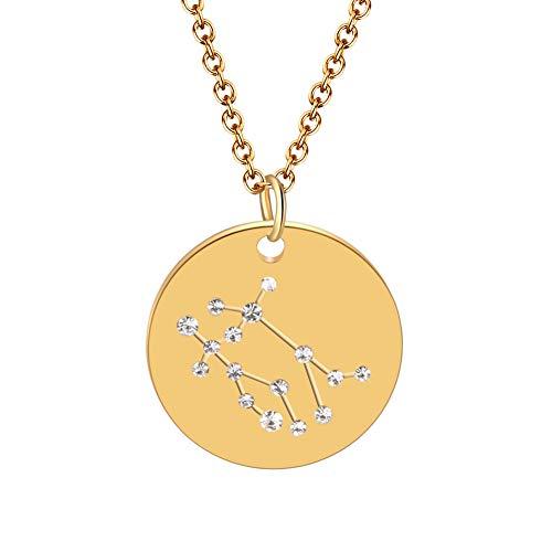 BONNIO Collar de la constelación del horóscopo del Zodiaco del Oro Collar del Collar Size Gemini
