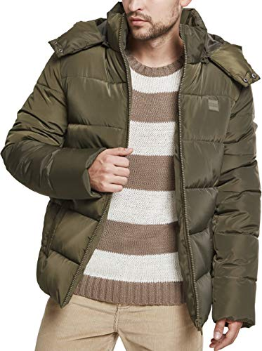 fake felljacke Urban Classics Herren Jacke Hooded Puffer Jacket, Darkolive, L