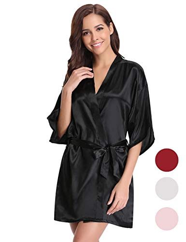 Abollria Damen Morgenmantel Satin Kimono Robes Pure Colour Short Silky Bathrobe Sleepwear Loungewear Nachtwäsche kurz Nightgown Pajama with Oblique V-Neck fur Hotel Spa Bademantel