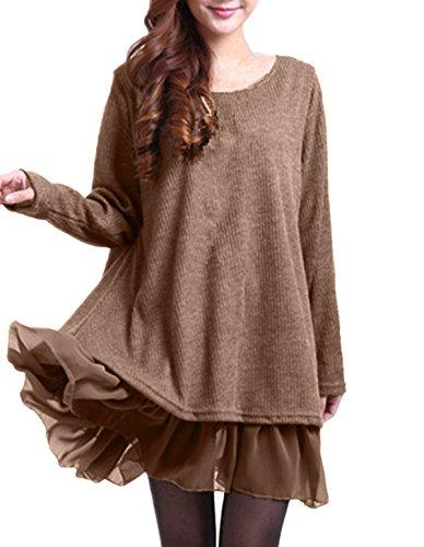 ZANZEA Damen Stricken Chiffon Lace Langarm Jumper Mini Kleid Pullover Khaki EU 46 / US 14