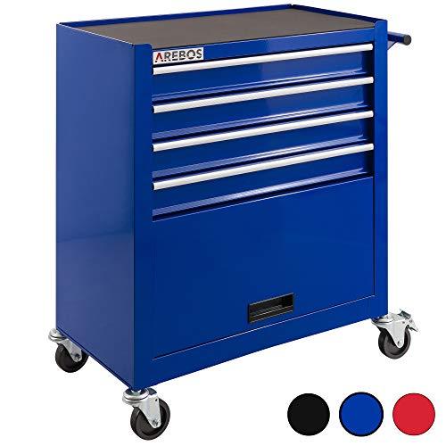 Arebos Werkstattwagen 4 Fächer + großes Fach/mit Antirutschmatten / 2 Rollen mit Festellbremse (Blau)