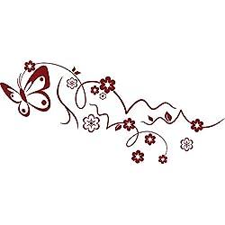GRAZDesign 560009_57_030 Wandtattoo Blumen mit Schmetterling | Blumentattoo für Wohnzimmer - Schlafzimmer - Kinderzimmer | Blumenranken und Pflanzen an die Wand als Wand-Aufkleber (125x57cm // 030 dunkelrot)