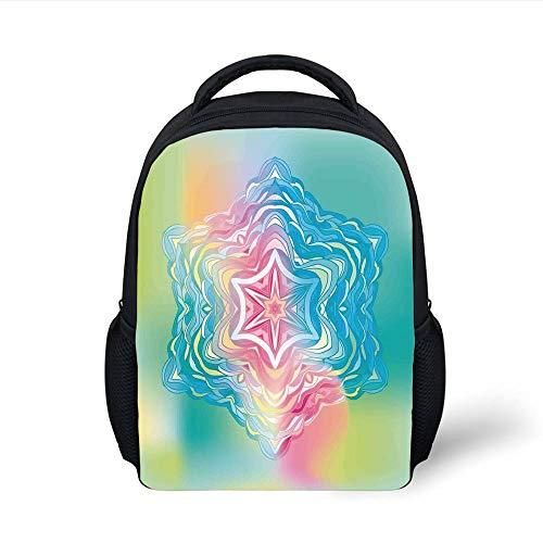Kids School Backpack Mandala Decor,Psychedelic Liquid Layered Digital Ethnic Floral Icon in Soft Illustration,Blue Pink Plain Bookbag Travel Daypack - Floral Layered
