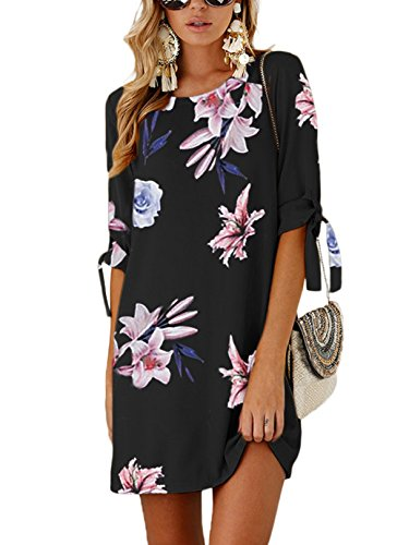 men Tshirt Kleid Rundhals Kurzarm Minikleid Kleider Langes Shirt Lose Tunika mit Bowknot Ärmeln Dunkelblau-01 EU32-34(Kleiner als Reguläre Größe) ()