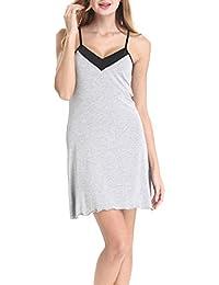35f8b497e10c57 Nora Twips Damen Elegantes Viskose-Negligee Kreuzgurte Zurück Nachthemd  Kurz Sleepshirt by