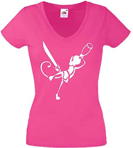 JINTORA T-Shirt - Chemise Femme Rose - V-Cou - Taille L - Drunken Ninja Monkey - JDM/La Coupe - pour la fête Carnaval Travail et Loisirs
