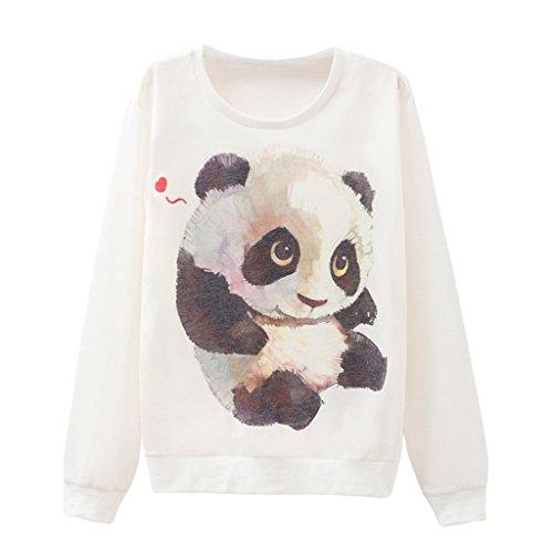 Damen Süße Panda Baby Pullover Eco Vlies Schlank Passen Pullover (Baby Anzug Panda)