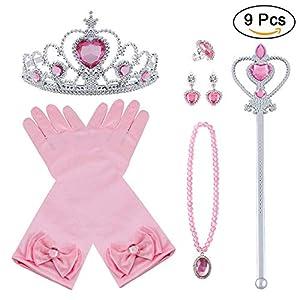 Vicloon Nuovi Costumi da Principessa Set di 9 Pezzi Dono da Tiara, Guanti, Bacchetta Magica, Anello, Orecchino, Collana… 19 spesavip