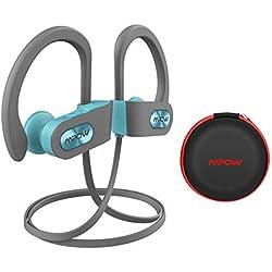 Mpow Auriculares Bluetooth Deportivos, V4.1 Impermeable IPX7 In-Ear Cascos Inalámbricos,Auricular Running Deporte Correr con Micrófono,Cancelación de Ruido CVC 6.0 para iPhone(Verde con EVA Bolsa)