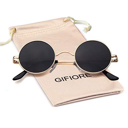 GIFIORE John Lennon Brille Runde polarisierte Sonnenbrille Hippie Brille für Damen Herren Gr. L, Gold Frame Grey Lens