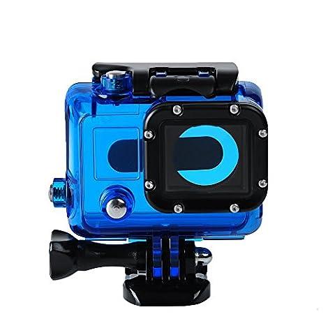 Boîtier Coque de Protection pour Gopro 4 3 3+, Badalink Case de Protection Nouveau Clear View avec Objectif Côté Ouvert pour Gopro Hero 4 3 3+ Caméra Sport Action cam - Bleu