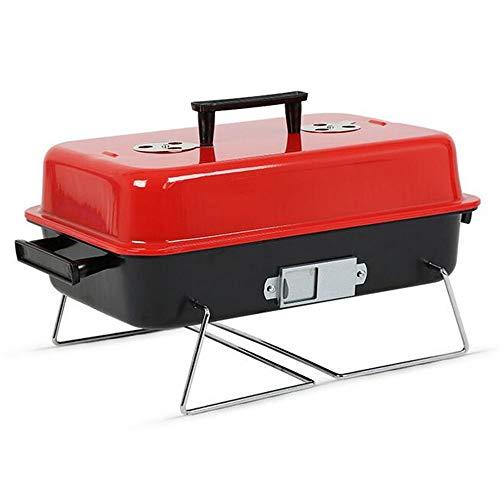 Tragbaren Holzkohle-grill Küche (WPCBAA Tragbare Metall Eisen Holzkohle BBQ Kochen Grill Edelstahl Outdoor Camping Grill Werkzeuge Küche BBQ Zubehör Kochgeschirr)