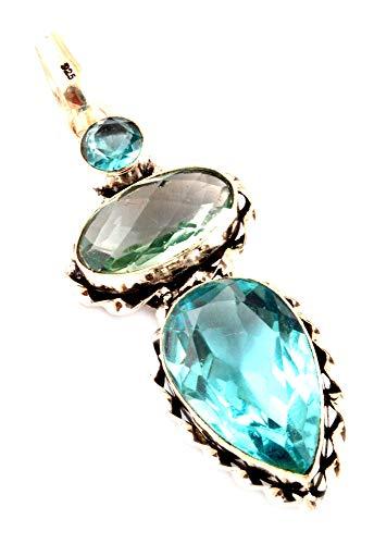 Indie gestaltet grün Amethyst & Swiss Blau Topas Anhänger 925Silber Plattiert Halsketten Fashion Jewelry Moderner Stil Frauen Zubehör