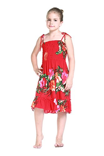 Nia-Elstico-Ruffle-Hawaiian-Luau-vestido-en-Rojo-Floral-8