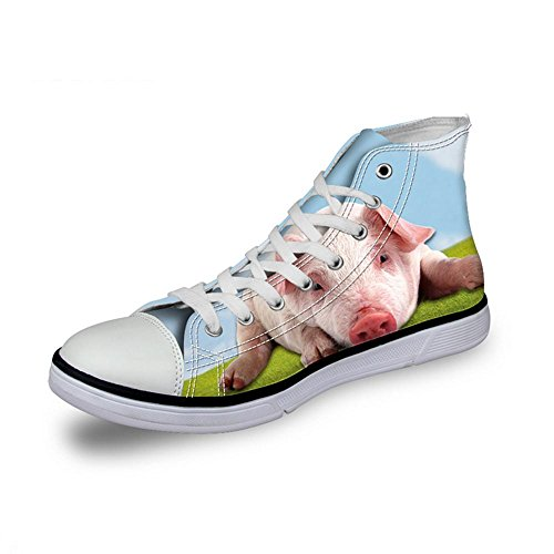 NSX Punta rotonda delle donne High Top Lace-Up 3D Printing Canvas Casual Athletic Skate Scarpe Flats , 38 , 008 007-40