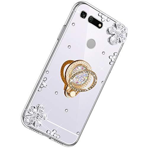 Herbests Kompatibel mit Huawei Honor View 20 Glänzend Diamant Kristall Strass Glitzer Spiegel TPU Handyhülle Handytasche Silikon Schutzhülle TPU Bumper Case mit Handy Fingerhalterung,Silber