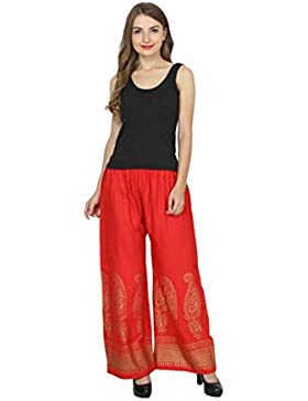 Indian Handicrfats Export Skyline Trading Relaxed Women's Red Trousers