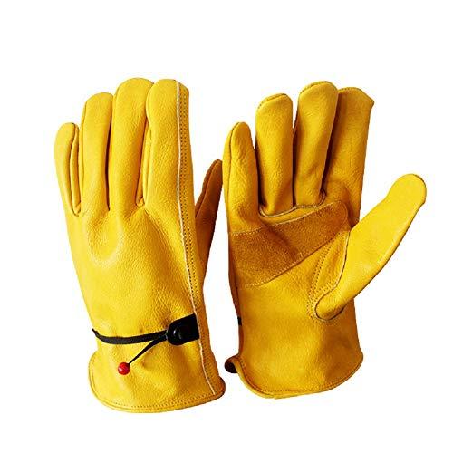QETY Split Leder Arbeit Handschuhe Fahrer Handschuhe, Multifunktions Radfahren Fahren Motorrad Lokomotive Outdoor-Sport-Handschuhe,XL