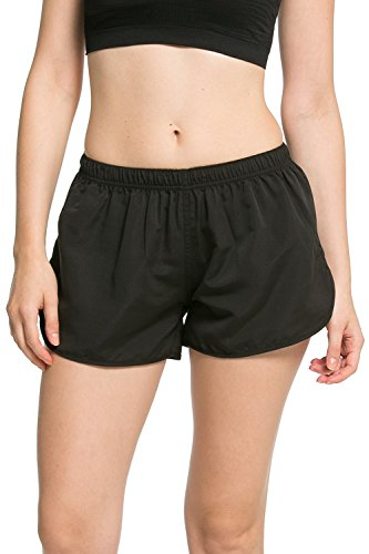 Dolamen Damen Badeshorts Bikinihose Shorts Trunks Lässige Shorts Badeanzug Bauchweg Badekleid Sport Yoga Hosen Mini Bikini Slip Beachwear, Boyleg Stil (Large, Schwarz)