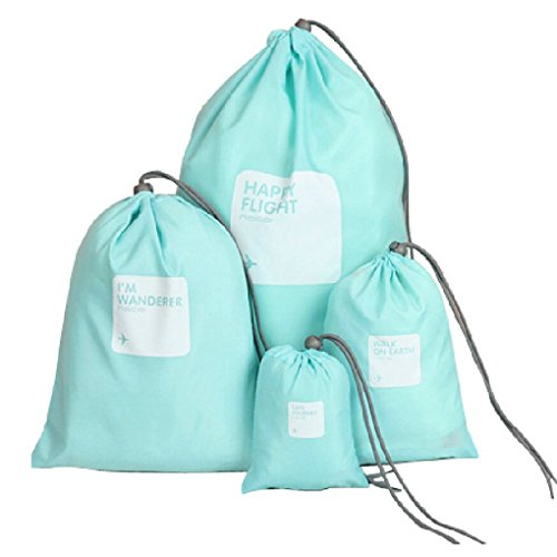 Lote de 4 bolsas de almacenamiento impermeable, organizador, almacenamiento portátil, neceser con cordón para ropa interior de gran capacidad, ideal para camping, viaje y desplazamientos