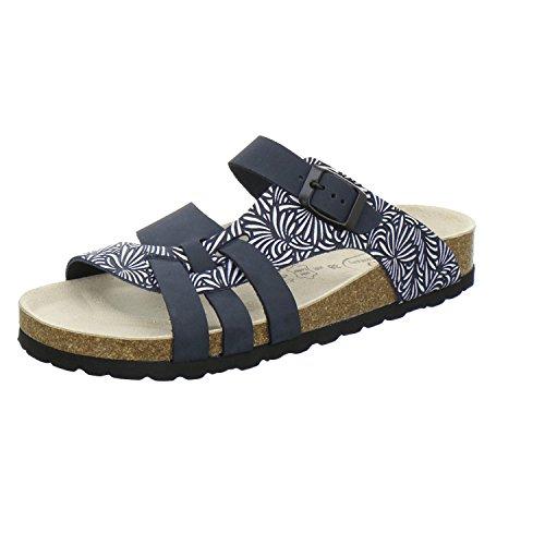 AFS-Schuhe 2122, Modische Damen-Pantoletten aus Leder, Bequeme Hausschuhe Größe 39 Blau (Navy)