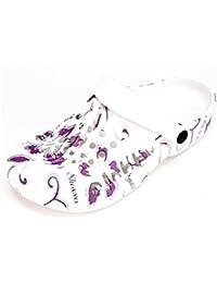 Damen Clogs Hausschuhe Badeschuhe (112D) Pantoffeln Pantoletten Schuhe Neu Farbe Lila, Größe 38