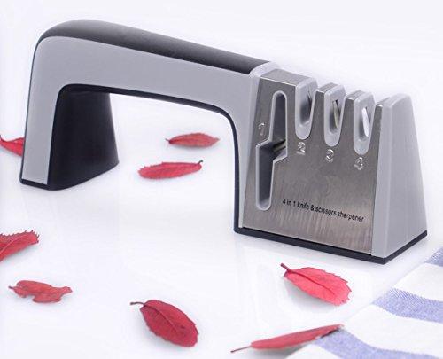 Messerschärfern, 4 in 1 Handanlage mit keramischen groben feiner Slot, 4 Etappen schärfen mit Anti-Rutsch-Schwamm-Matten design, schärft Messer in allen Größen (schwarz) - 4. Etappe